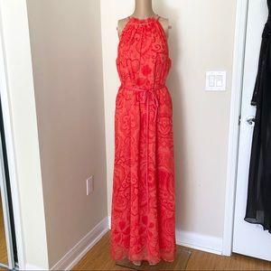 Chetya B. Long Orange Maxi Dress with Halter Top